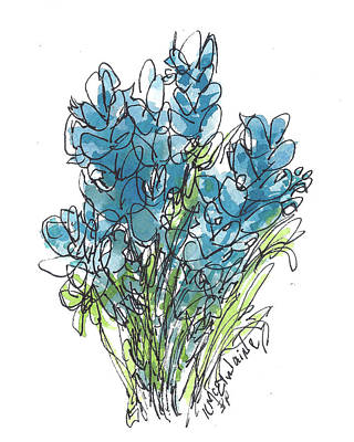 Bluebonnet I Watercolor Painting, By Kmcelwaine Original by Kathleen McElwaine