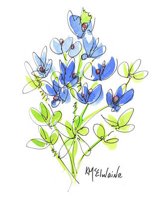 Painting - Bluebonnet II Watercolor Painting By Kmcelwaine by Kathleen McElwaine