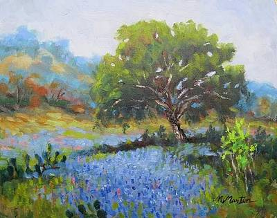 Mike Martin Painting - Bluebonnet In Comfort by Mike Martin