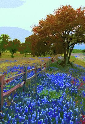 Painting - Bluebonnet Season In Texas by Andrea Mazzocchetti