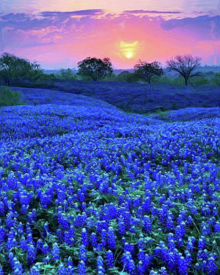 Painting - Bluebonnet Sunrise by Troy Caperton