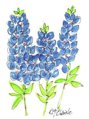 Painting - Bluebonnet Tall Watercolor Painting By Kmcelwaine by Kathleen McElwaine