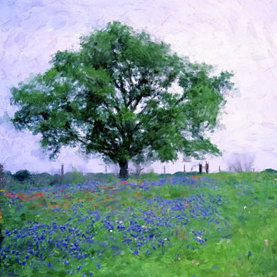 Digital Art - Bluebonnet Tree by Gary Grayson