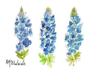 Painting - Bluebonnets 3  by Kathleen McElwaine