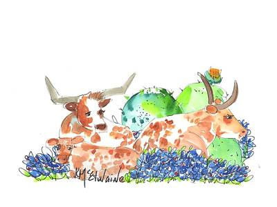 Painting - Bluebonnets And Baby Cows Kmcelwaine by Kathleen McElwaine
