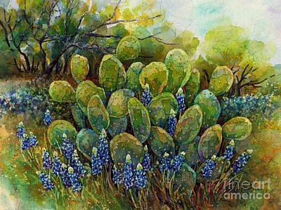 Print featuring the painting Bluebonnets And Cactus 2 by Hailey E Herrera