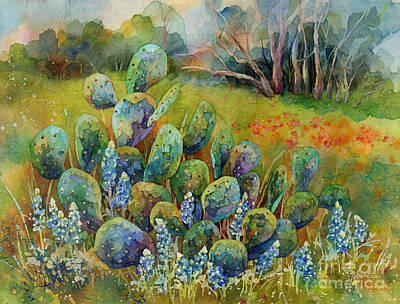 Royalty-Free and Rights-Managed Images - Bluebonnets and Cactus by Hailey E Herrera