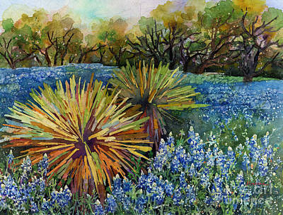 Print featuring the painting Bluebonnets And Yucca by Hailey E Herrera