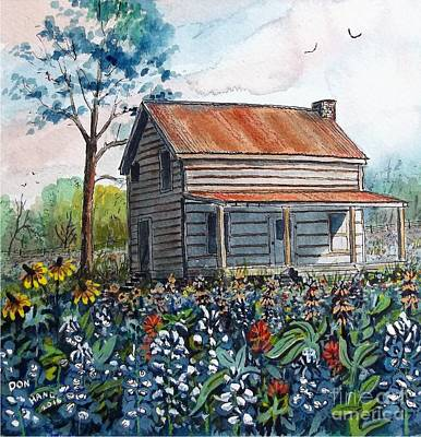 Texas Farm House Painting - Bluebonnets by Don Hand