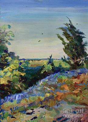 Bluebonnets On A Hill Art Print by Maris Salmins