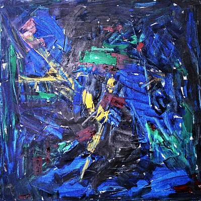 Painting - Blued Abstraction by Khalid Saeed