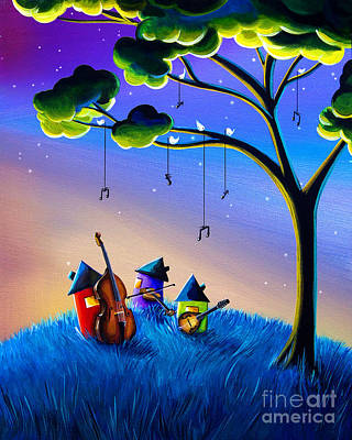 Violin Painting - Bluegrass Nights by Cindy Thornton