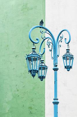 Blue,green And White Art Print
