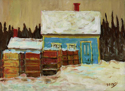 Painting - Bluehouse Winter,stonington Maine by Dave Higgins
