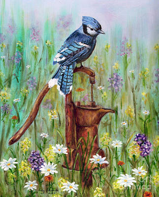 Bluejay Painting - Bluejay Peaceful Perch by Judy Filarecki