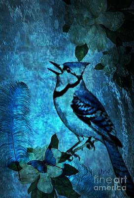 Digital Art - Bluejay Song by Maria Urso