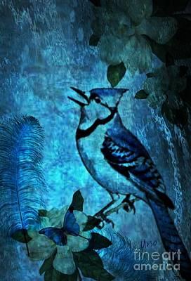 Bluejay Digital Art - Bluejay Song by Maria Urso