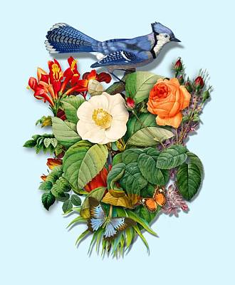 Painting - Bluejay With Flowers by Gary Grayson