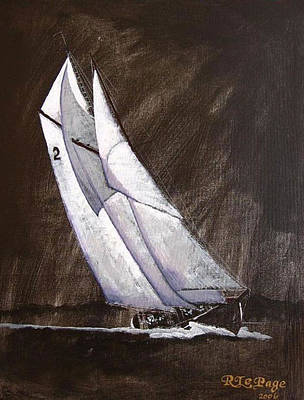 Bluenose Painting - Bluenose At Night Coming by Richard Le Page
