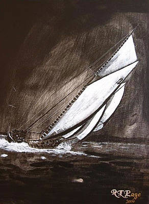 Bluenose Painting - Bluenose At Night Going by Richard Le Page