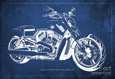 Harley Davidson Art Painting - Blueprint 2011 Harley-davidson Vrscf V-rod Muscle - Blue Background by Pablo Franchi