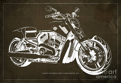 Harley Davidson Art Painting - Blueprint 2011 Harley-davidson Vrscf V-rod Muscle - Brown Background by Pablo Franchi