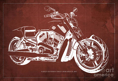 Harley Davidson Motorcycle Painting - Blueprint 2011 Harley-davidson Vrscf V-rod Muscle - Red Background by Pablo Franchi