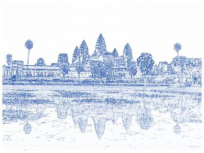 Archeology Painting - Blueprint Drawing Of Ancient Angkor Antique Archeology Architecture by Celestial Images