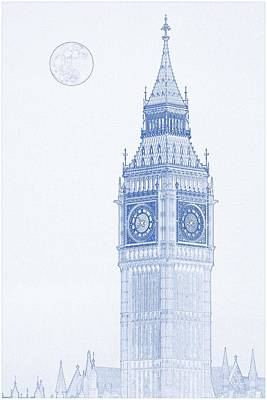 Isolated Painting - Blueprint Drawing Of Big Ben Tower 2 by Celestial Images