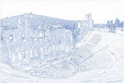 Isolated Painting - Blueprint Drawing Of Greece Athens Parthenon Acropolis Theatre by Celestial Images