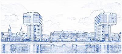 Pencil Painting - Blueprint Drawing Of Modern Apartment Complex 85 by Celestial Images