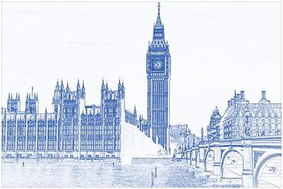 Symbol Painting - Blueprint Drawing Of Modern Building 8 London Big Ben Tower by Celestial Images