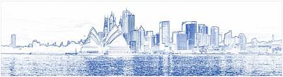 Pencil Painting - Blueprint Drawing Of Sydney Opera House by Celestial Images