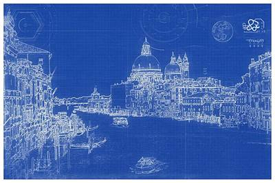 Venice Beach Bungalow - Blueprint Drawing of Venice by Celestial Images