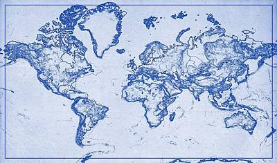 World map wallpaper art page 2 of 5 fine art america world map wallpaper wall art painting blueprint drawing of world map 2 by celestial gumiabroncs Choice Image