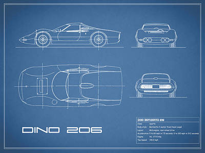 Blueprint Ferrari Dino 1965 Art Print by Mark Rogan