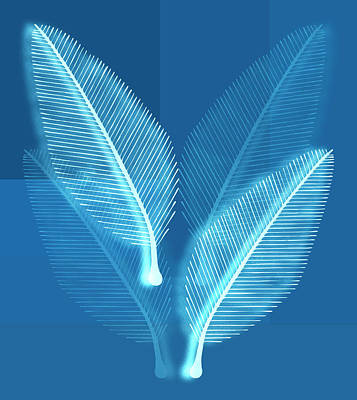 Very Painting - Blueprint Leaves by Frank Tschakert