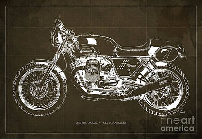Vespa Mixed Media - Blueprint Moto Guzzi V7 Clubman Racer, Brown Background by Pablo Franchi