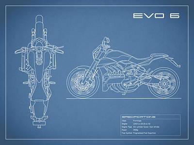 Blueprint Of A Evo 6 Motorcycle Art Print