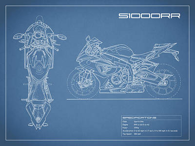 Bmw Photograph - Blueprint Of A S1000rr Motorcycle by Mark Rogan
