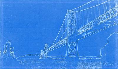 Chart Painting - Blueprint Of Suspension Bridge by Celestial Images