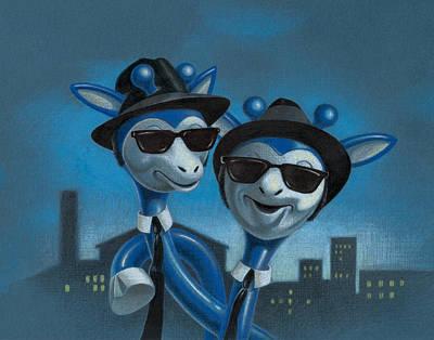 Blue Black Drawing - Blues Boys by Todd Baxter