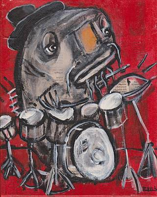 Outsider Art Mixed Media - Blues Cat Drums by Robert Wolverton Jr
