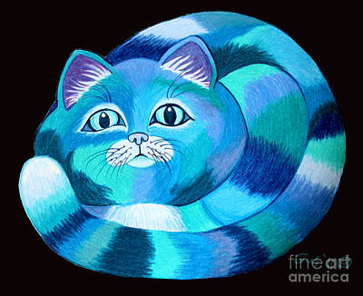 Fantasy Drawings - Blues Cat by Nick Gustafson