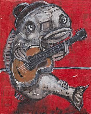 Outsider Art Mixed Media - Blues Cat On Guitar by Robert Wolverton Jr