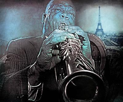 Jazz Mixed Media - Blues in Paris Sidney Bechet by Mal Bray