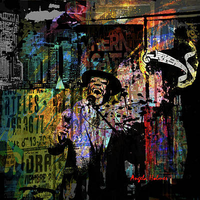 Mixed Media - Blues In The City by Angela Holmes