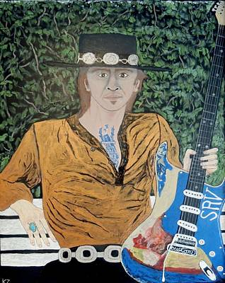 Painting - Blues In The Park With Stevie Ray Vaughan. by Ken Zabel