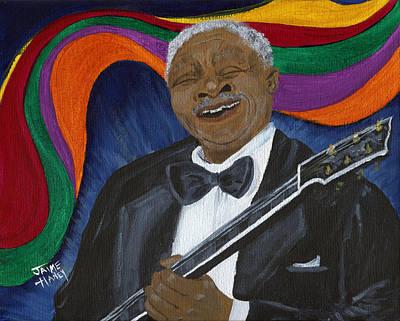 Black Man Playing Guitar Painting - Blues Man by Jaime Haney