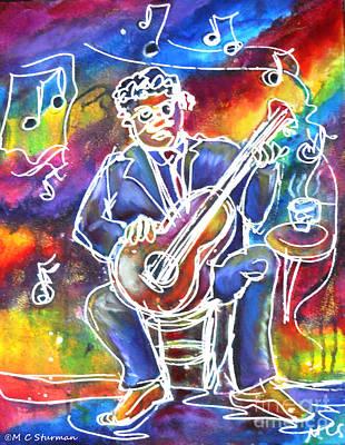 New Orleans Oil Mixed Media - Blues Man by M C Sturman